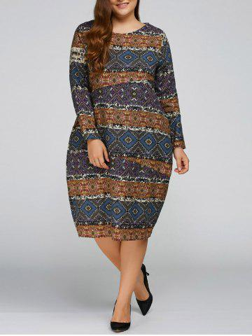 Shop Plus Size Aztec Cocoon Dress with Pocket
