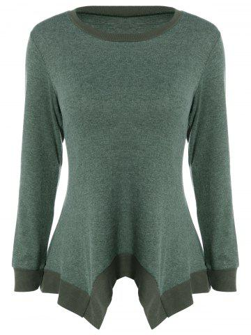 Asymmetric Loose Knitwear - Blackish Green - S