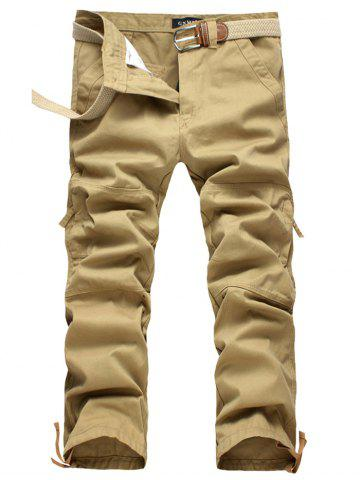 Shops Zipper Fly Straight Leg Splicing Pockets Cargo Pants KHAKI 40