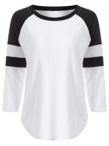 Unique Raglan Sleeve Contrast T-Shirt WHITE XL