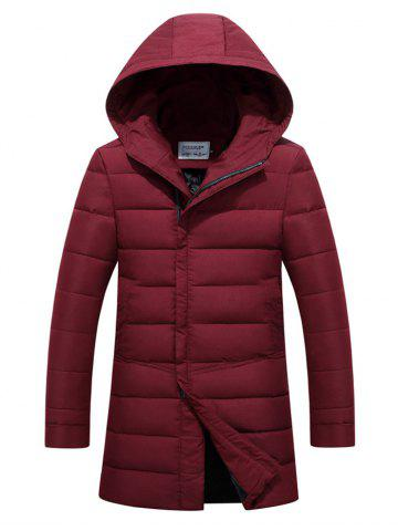 Latest Hooded Covered Zip-Up Lengthen Padded Coat