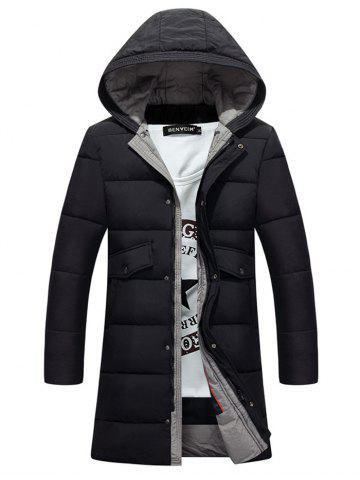 New Hooded Pockets Zip-Up Lengthen Padded Coat BLACK XL