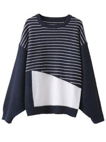 Unique Striped Patchwork Pullover Sweater PURPLISH BLUE ONE SIZE