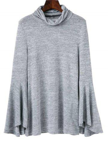 Trendy Back Slit Flare Sleeves Knitwear GRAY L