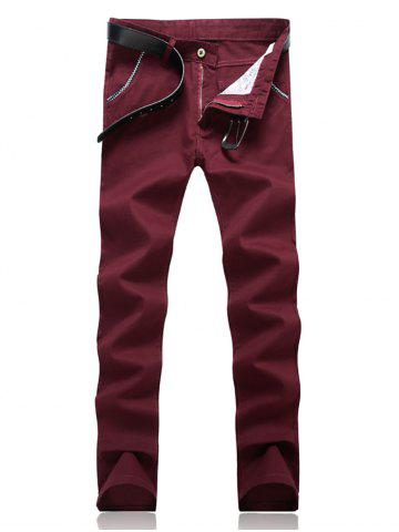 Cheap Knitting Spliced Edging Zipper Fly Narrow Feet Pants WINE RED 33