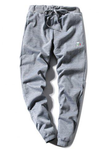 Shops Coffee Cup Embroidered Lace-Up Beam Feet Jogger Pants GRAY L