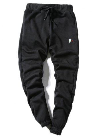 Coffee Cup Embroidered Lace-Up Beam Feet Jogger Pants - Black - S