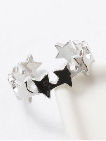 Store Polished Tiered Star Casual Cuff Ring SILVER WHITE
