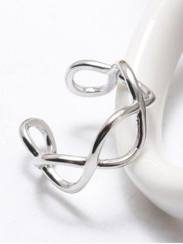 Trendy Filigree Infinity Polished Cuff Ring - WHITE GOLDEN  Mobile