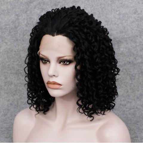 Cheap Medium Curly Lace Front Synthetic Wig - BLACK  Mobile