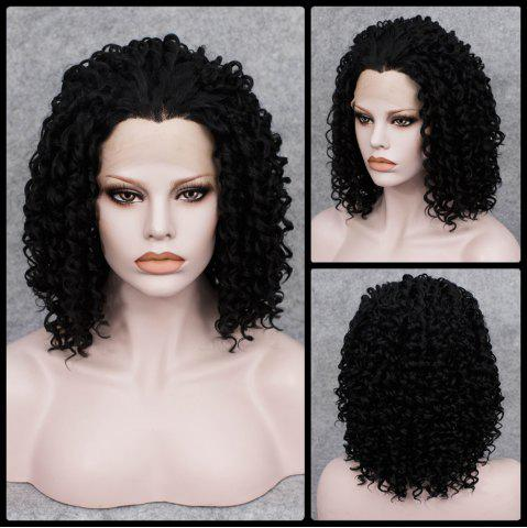 Affordable Medium Curly Lace Front Synthetic Wig - BLACK  Mobile