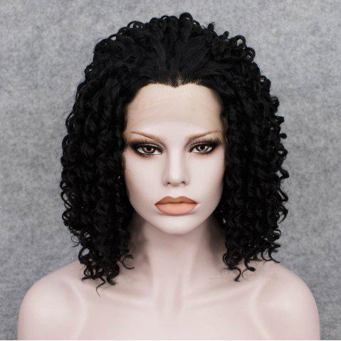 Fancy Medium Curly Lace Front Synthetic Wig - BLACK  Mobile