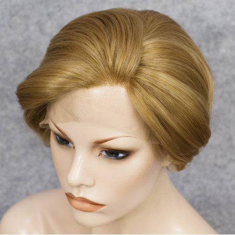 Chic Short Straight Mixed Color Lace Front Synthetic Wig - COLORMIX  Mobile