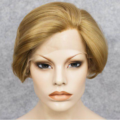 Fashion Short Straight Mixed Color Lace Front Synthetic Wig - COLORMIX  Mobile