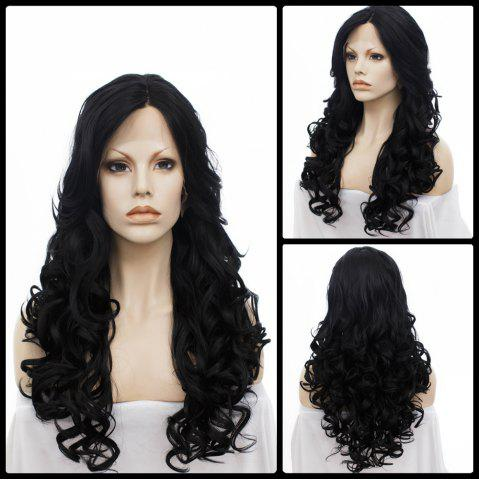 Cheap Long Centre Parting Wavy Lace Front Synthetic Wig JET BLACK
