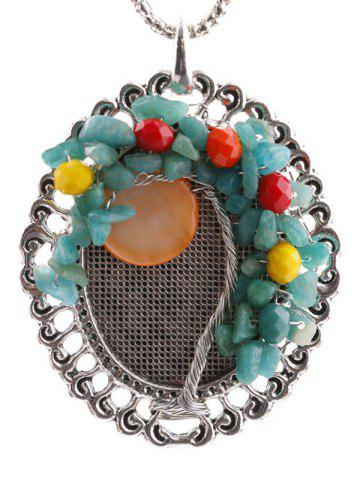 Cheap Handmade Beaded Floral Round Pendant Necklace