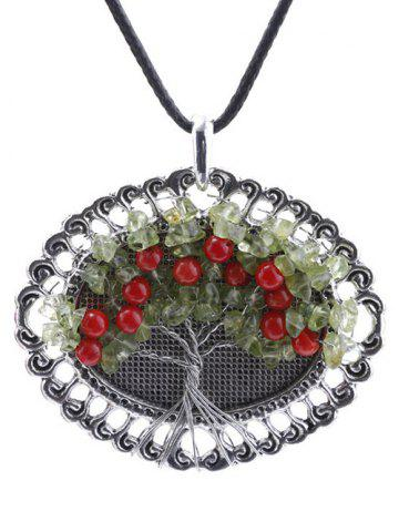 Handmade Beaded Life Tree Round Pendant Necklace - Silver