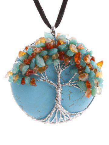 Chic Handmade Beaded Tree Round Necklace TURQUOISE BLUE