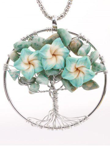 Discount Handmade Floral Tree Pendant Necklace LIGHT GREEN