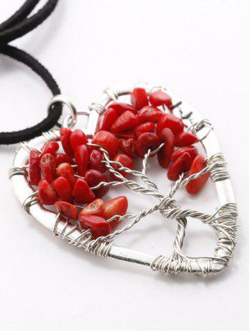 Outfits Hollow Heart Beaded Pendant Necklace RED