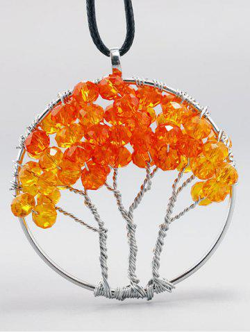 Handmade Beaded Life Tree Pendant Necklace - Orange Red