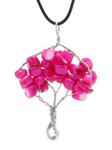 Online Handmade Life Tree Pendant Necklace CHERRY RED