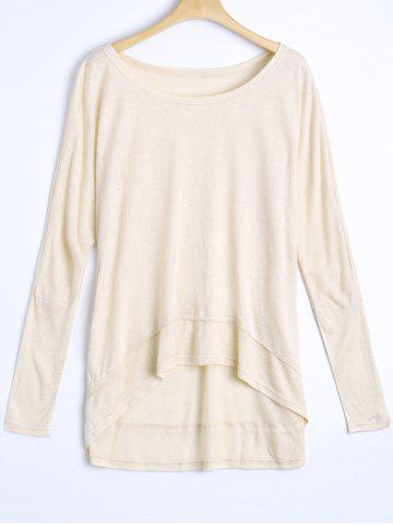 Cheap Round Neck Oversized High Low T-Shirt