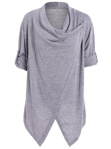Slit Knitted Cowl Neck Asymmetric Tops - Light Gray - 2xl