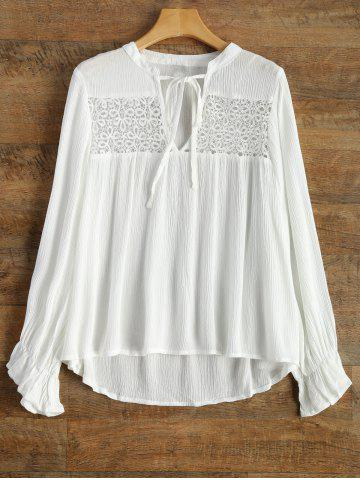 Shop V Neck Butterfly Sleeve Chiffon Spliced Blouse WHITE XL