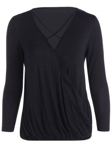 Latest V Neck Strappy Surplice T Shirt BLACK L