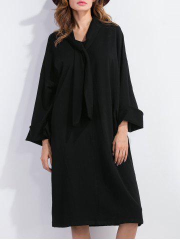 Unique Bow Tie Long Sleeve Shift Dress BLACK XL