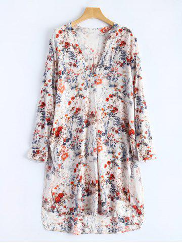 Store V Neck High Slit Floral Shirt