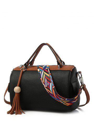 Textured Leather Tassels Colour Spliced Tote Bag - BLACK