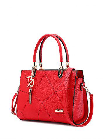Stitching Textured Leather Metal Tote Bag - RED
