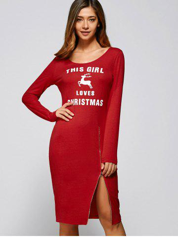 New Long Sleeves Letter Print Slit Sheath Dress