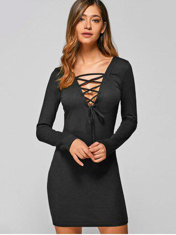 Lace Up Long Sleeve Lace Mini Bodycon Dress - Black - S