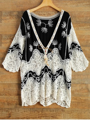 Buy Crochet Trim Embroidered Relaxed Plunge Top