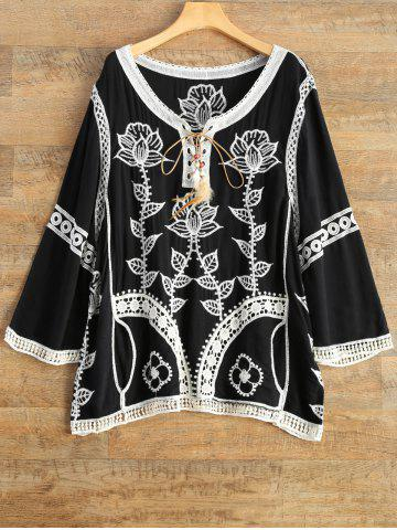 Hot Lace Up Embroidered Tunic Top