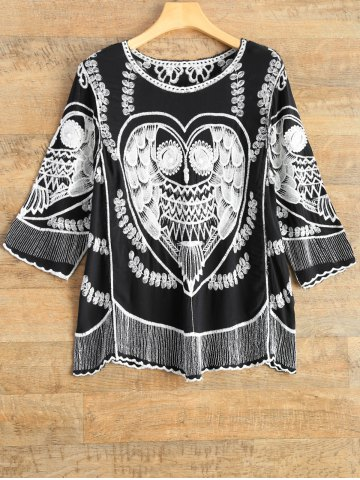 Best A Line Owl Embroidered Top