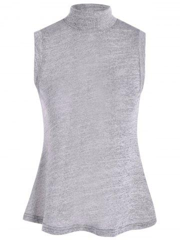Outfits Lace Up Back High Collar Sleeveless Jumper Sweater GRAY L