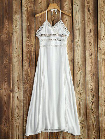 Halter Crochet Trim Backless Long Beach Dress - White - 2xl