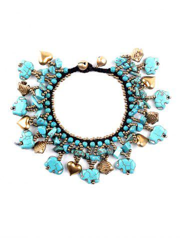Online Statement Heart Fish Beads Bell Faux Turquoise Bracelet