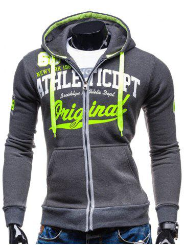 Best Hooded Zip-Up Graphic Print Hoodie DEEP GRAY 2XL
