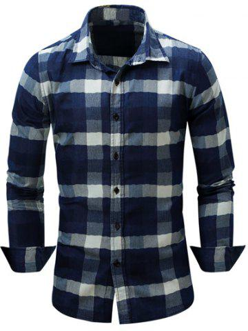 Trendy Color Block Checked Turn-Down Collar Long Sleeve Shirt DEEP BLUE L
