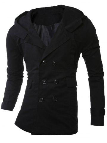 Online Hooded Double-Breasted Lengthen Coat
