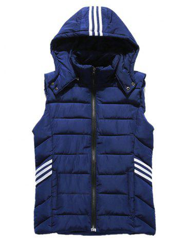Hooded Stripe Agrémentée Zip-Up Down Waistcoat