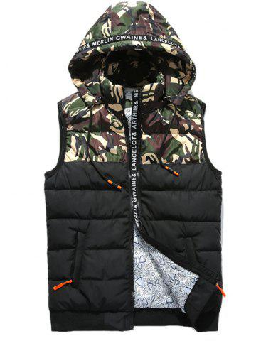 Camo Panels Puffer Hooded Vest - Green - S