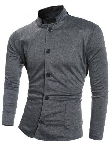 Latest Single-Breasted Stand Collar Pockets Design Jacket DEEP GRAY L