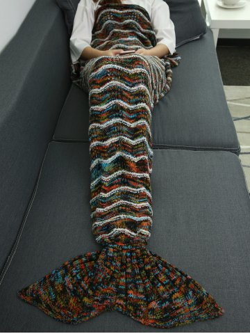 Fancy Winter Thicken Knitted Sleeping Bag Wrap Sofa Mermaid Blanket COLORMIX