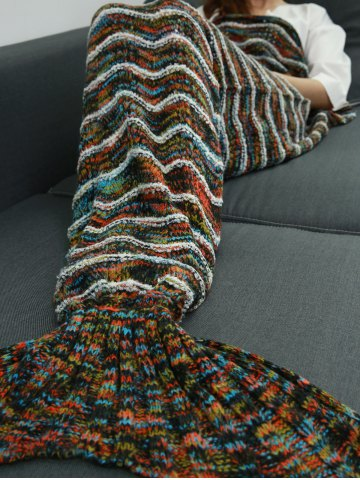 Sale Winter Thicken Knitted Stripe Sleeping Bag Wrap Sofa Mermaid Blanket - COLORMIX  Mobile